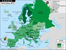 a map of europe with countries european countries by forest area thematic map