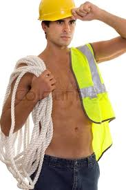 Construction Worker Costume Construction Worker Carrying Gear Stock Photo Colourbox