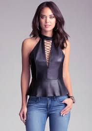 Leather And Lace Clothing Bebe Leather Lace Front Peplum Top In Black Lyst
