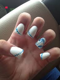 acrylic tips white nail polish with blue nail designs u0026 diamond