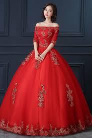 robe de mariã e sissi 100 de color rojo real bordado de la flor de oro sissi vestido