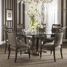 Dining Table And Six Chairs Formal Grecian Style Glass Top Dining Set With Six Chairs By