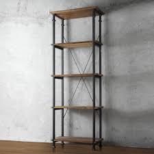myra ii vintage industrial modern rustic bookcase by inspire q