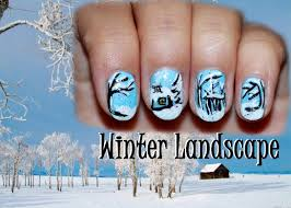 nail art designs winter landscape nail design for short nails