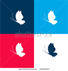 butterfly silhouette side view facing left stock vector 796000603