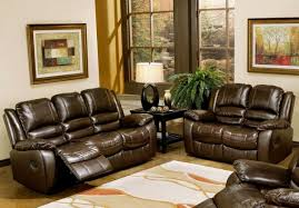 Brown Leather Reclining Sofa by Leather Reclining Sofa And Couch Seat In Brown Color Scheme On
