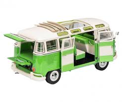 green volkswagen van vw t1b samba green white 1 18 edition 1 18 box van models