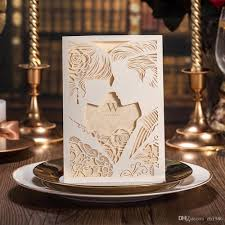 Dinner Party Invitation Card Engagement White Laser Cut Couples Wedding Invitations Elegant