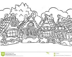 medieval half timbered houses village coloring page illustration