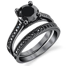 black cubic zirconia engagement rings black sterling silver 1 25 carat black cubic zirconia