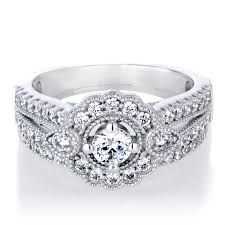deco wedding rings karola s deco cubic zirconia wedding ring set