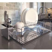 modern kitchen sink with drain boards and chrome faucet diamond home modern kitchen chrome plated 2 tier dish drying rack