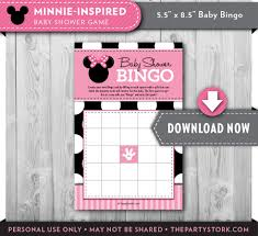 baby shower games minnie mouse bingo card printable