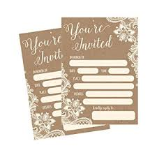 Rehearsal Dinner Invitations Amazon Com 50 Fill In Invitations Burlap And Lace Kraft