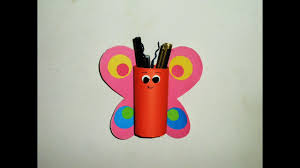 diy easy butterfly pen pencil holder made with tissue paper