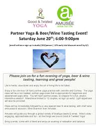 partner yoga wine u0026 beer evt amusée