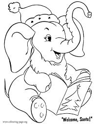 christmas elephant christmas card coloring