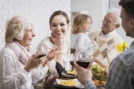 family gatherings and frail seniors helping family members to