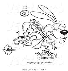 vector of a cartoon easter bunny running with a bag of eggs