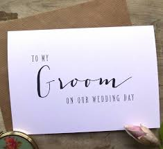 to my groom on our wedding day card modern text to my groom on our wedding day card by sweet pea