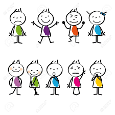 cute and colorful cartoon kids sad and happy royalty free cliparts