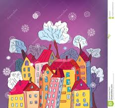 card with whimsical houses stock vector image 21925047