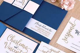 pocket invitation blush and navy wedding invitation suit navy and gold wedding