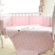 7pcs 100 cotton baby cot bedding set newborn cartoon pink crib