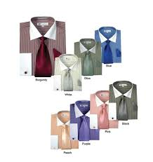 men u0027s striped formal casual dress shirt with french cuff links tie