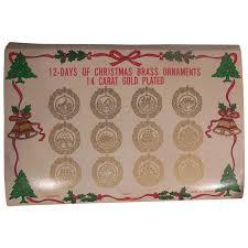 vintage 14 kt gold plated brass twelve days of ornaments
