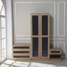 buy homcom high gloss 3 piece bedroom furniture set wardrobe