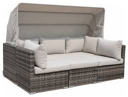 courtyard casual taupe aurora outdoor sectional to daybed combo
