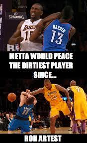 Metta World Peace Meme - 5 hilarious ron artest metta world peace elbowing james harden