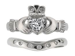 claddagh wedding ring engagement ring heart diamond claddagh engagement ring matching
