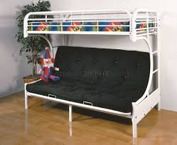 White Futon Bunk Bed C Style White Finish Contemporary Futon Bunk Bed