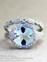 Aquamarine Wedding Rings by Stella Diamond Art Deco Wedding Band In White Gold Dana Walden