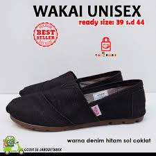 Sepatu Wakai Harganya jual sepatu wakai pria denim hitam sol coklat wakai murah murah