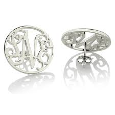 monogram earrings silver monogram earrings personalize circle monogram stud earrings
