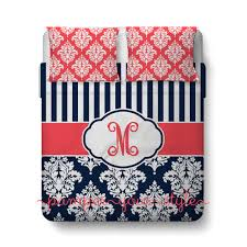 Customize Your Own Bed Set Stripe And Damask Bedding Navy And Coral Duvet Or Comforter