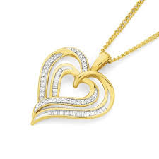 heart gold necklace diamonds images 9ct gold diamond double heart pendant angus coote jpg