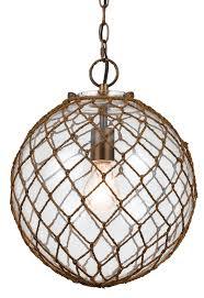 Pendant Fishing Light Rope Net Seeded Glass Pendant Light 16 H Fx 3576 1p