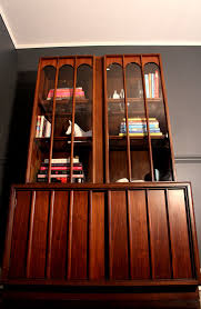 mid century modern hutch bookcase china cabinet by keller