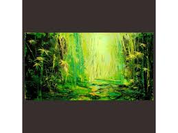 original abstract modern landscape made bamboo large abstract landscape green yellow tones white forest