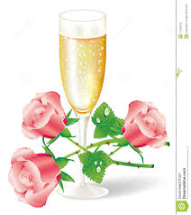 champagne clipart glass of champagne with pink roses stock photography image 17549632