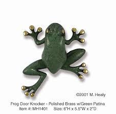 michael healy designs decorative tree frog door knocker brass blue