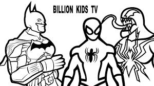 spiderman vs batman vs venom coloring book coloring pages kids fun
