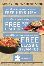 coupons for joe s crab shack joe s crab shack launches national partnership with autism speaks