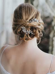 bridal hair accessories customizable beaded bridal hair pin in silver gold or