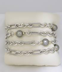 pearl sterling silver bracelet images David yurman sterling silver 18k white gold 4 row cable link black JPG