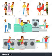 people laundry dry cleaning tailoring service stock vector